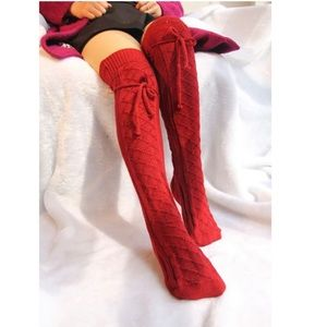 Thigh High Winter Socks Red
